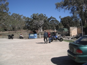 Strolling out to the bikes after lunch. Bit of Aussie bush out back.